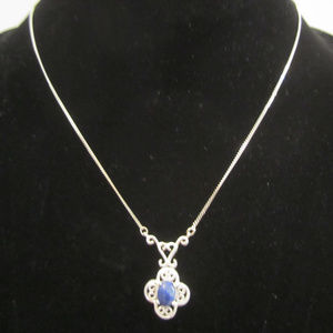 Jewelry - Silver & Lapis Filigree Necklace Marked 925 EUC